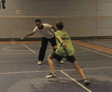 Start in Rückhand Badminton